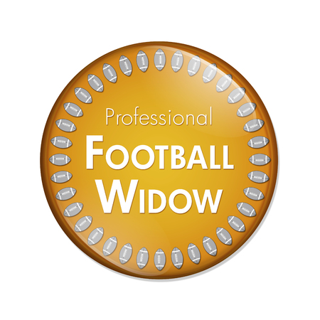 Professional Football Widow Button, A Orange and White button with words Professional Football Widow and Footballs isolated on a white background Stock Photo