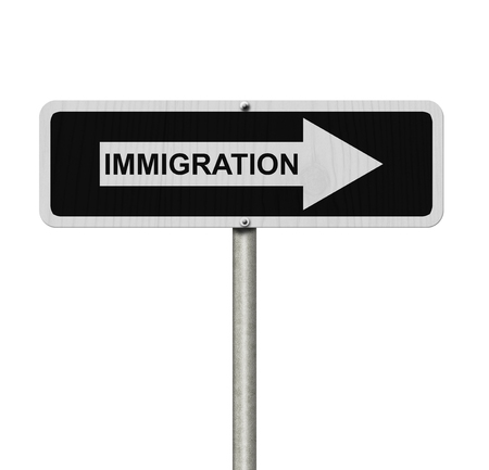 immigrate: The way to Immigration, Black and white street sign with word Immigration isolated on white