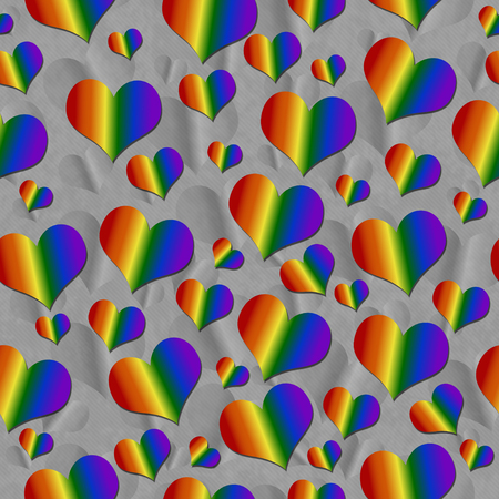 bisexuality: LGBT Pride Colored Hearts over Gray Tile Pattern Repeat Background that is seamless and repeats