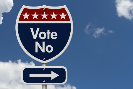 highway sign: American Vote No Highway Road Sign, Red, White and Blue American Highway Sign with words Vote No with sky background
