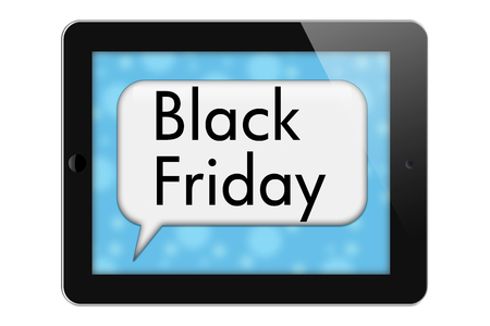 overwhite: Black Friday Sale Tablet with words Black Friday in Text Bubble isolated on a white background