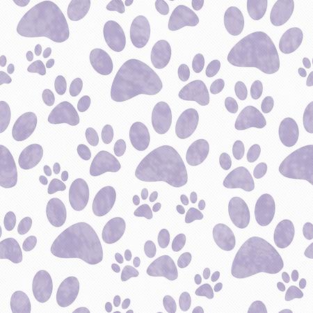 huellas de perro: La pata púrpura y blanco del perro imprime modelo del azulejo del fondo de la repetición que es perfecta y repeticiones