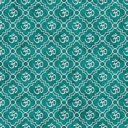 Teal and White Aum Hindu Symbol Tile Pattern Repeat Background that is seamless and repeats Stock Photo