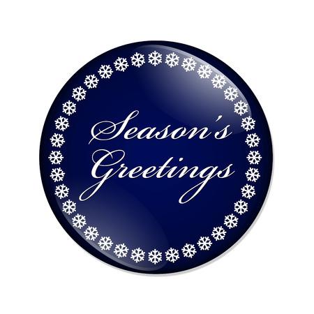 Groeten van het Seizoen Button, Een blauwe knop met sneeuwvlokken met Groeten woorden Season's geïsoleerd op een witte achtergrond Stockfoto