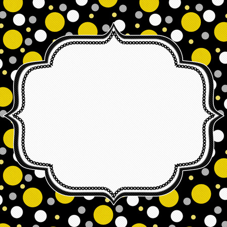 black borders: Yellow, White and Black Polka Dot Frame with Embroidery Stitches Background with center for your message