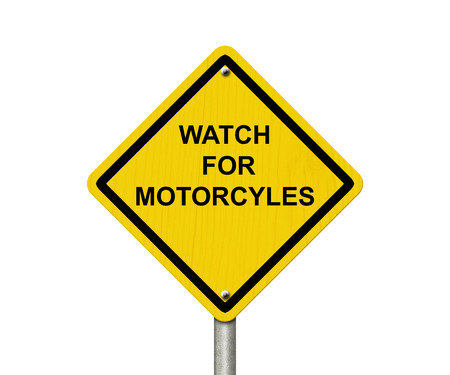 overwhite: Watch for Motorcycles Warning Sign, An road warning sign with words Watch For Motorcycles isolated on white