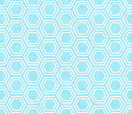repeats: Teal and White Hexagon Tile Pattern Repeat Background that is seamless and repeats Stock Photo
