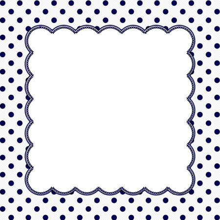 Navy Blue and White Polka Dot Frame with Embroidery Stitches Background with center for your message Stock fotó