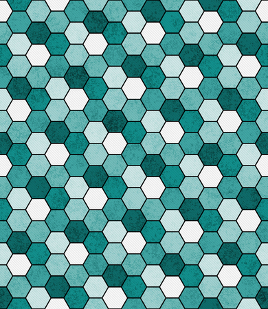abstract seamless: Teal, Black and White Hexagon Mosaic Abstract Geometric Design Tile Pattern Repeat Background that is seamless and repeats