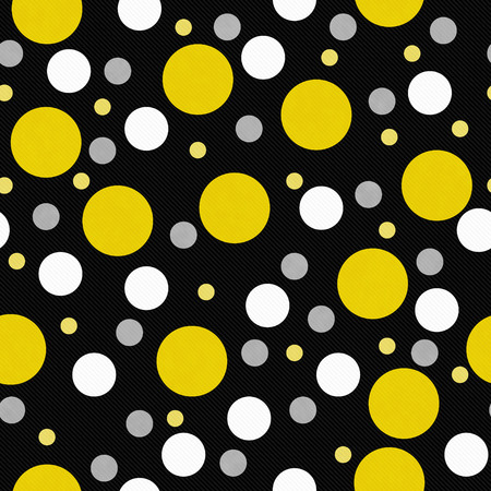 repeats: Yellow, White and Black Polka Polka Dot Tile Pattern Repeat Background that is seamless and repeats Stock Photo
