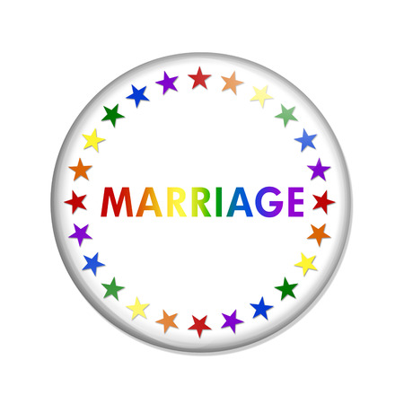 overwhite: Same-sex Marriage Button, A white button with word Marriage and LGBT pride colored stars and  isolated on a white background