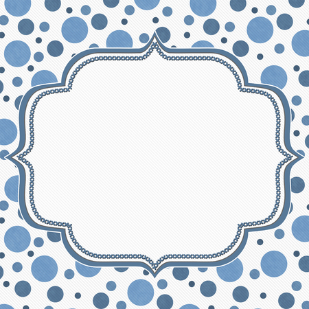 polka: Blue and White Polka Dot Frame with Embroidery Stitches Background with center for your message