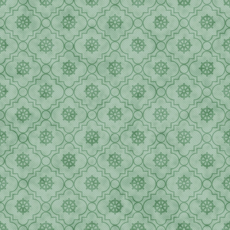 seamless tile: Pale Green Wheel of Dharma Symbol Tile Pattern Repeat Background that is seamless and repeats