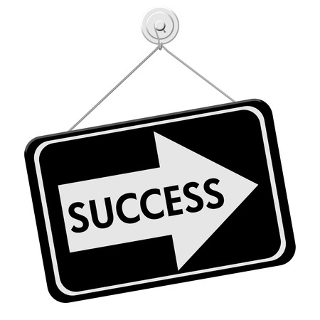overwhite: Success This Way Sign,  A black sign with the word Success with an arrow isolated on a white background
