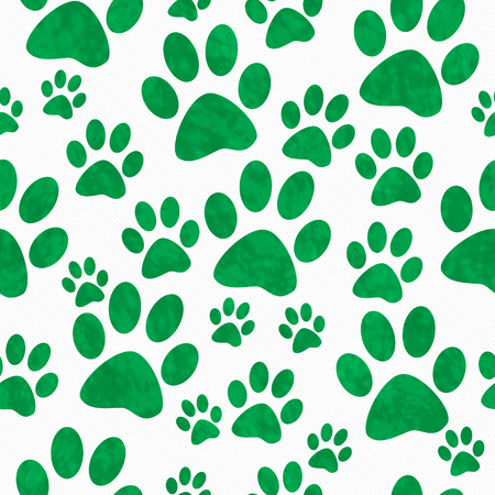 paws: Green and White Dog Paw Prints Tile Pattern Repeat Background that is seamless and repeats