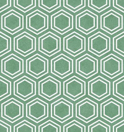 repeats: Green and White Hexagon Tile Pattern Repeat Background that is seamless and repeats Stock Photo