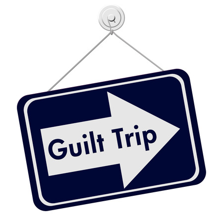 guilt: Guilt Trip Sign, A blue and white sign with the words Guilt Trip isolated on a white background