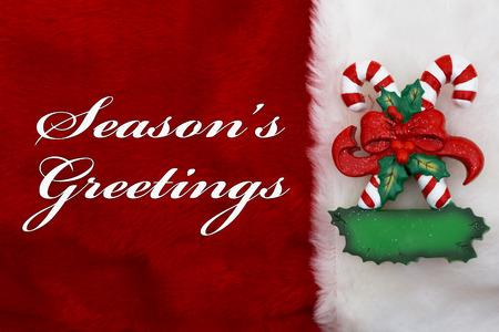 Season's Greetings, A pluche rode kous met een Candy Canes en woorden Season's Greetings Stockfoto