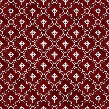 Rosso e Bianco Celtic Cross simbolo del reticolo delle mattonelle di ripetizione di fondo che è senza soluzione di continuità e si ripete Archivio Fotografico - 45593196