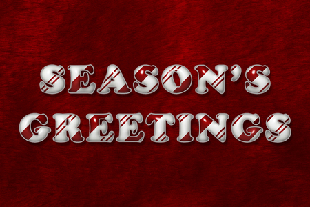 A Season's Greetings-bericht, The words Season's Greetings in Candy Cane Stripes over red plush background