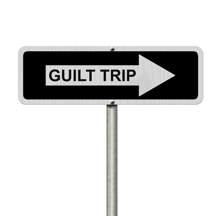 guilt: Guilt Trip this way, Black and white street sign with words Guilt Trip isolated on white Stock Photo