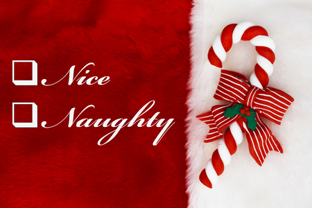 Naughty or Nice,  A plush red stocking with a Candy Cane and words Nice and Naughty