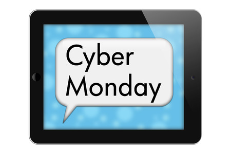 help me: Cyber Monday Sale Tablet with words Cyber Monday in Text Bubble isolated on a white background