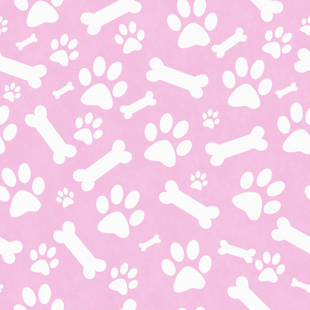 Pink and White Dog Paw Prints and Bones Tile Pattern Repeat Background that is seamless and repeats
