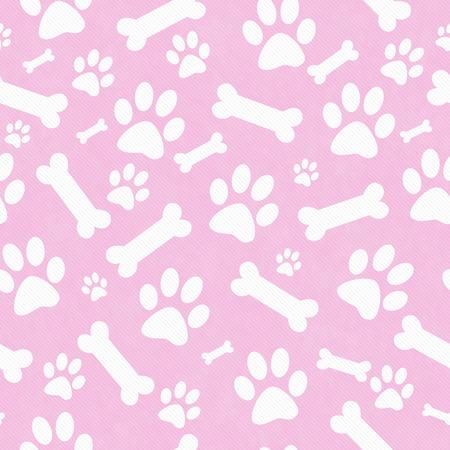 huellas de perro: Rosa y blanco del perro de la pata y huesos de baldosas modelo de la repetición de fondo que es perfecta y repeticiones