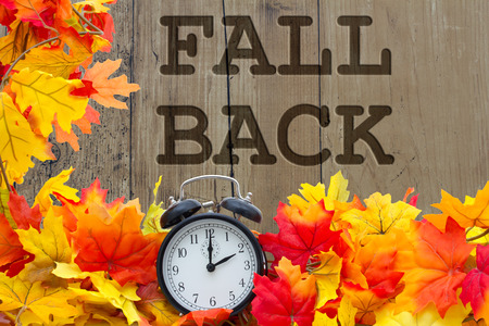 espalda: Descenso del tiempo de cambio, las hojas de otoño y despertador con madera del grunge y las palabras Fall Volver