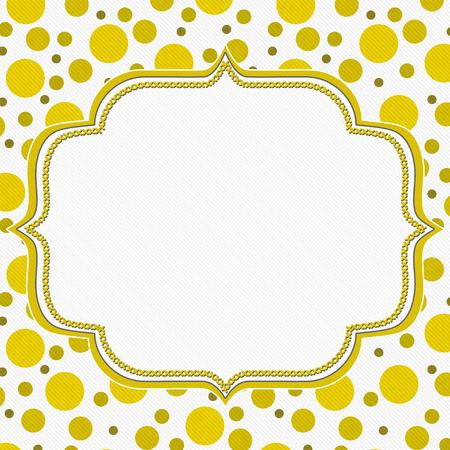stationary: Yellow and White Polka Dot Frame with Embroidery Stitches Background with center for your message