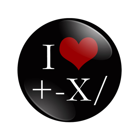 i like my school: I Love Math button, A black and red button with Math symbols and a heart isolated on a white background Stock Photo