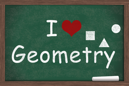 i like my school: I love Geometry, I heart geometry with example written on a chalkboard with a piece of white chalk Stock Photo