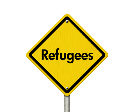 illegal immigrant: Refugees Road Sign, Yellow Caution sign with word Refugees isolated on white