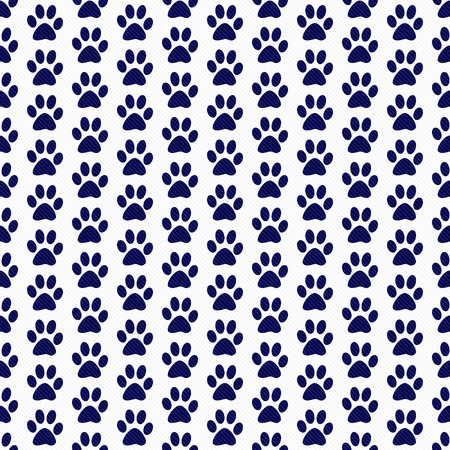 navy blue background: Navy Blue and White Dog Paw Prints Tile Pattern Repeat Background that is seamless and repeats