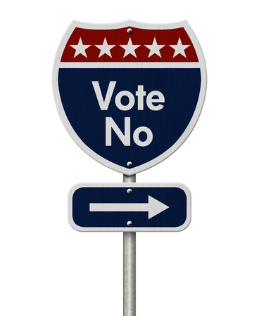 highway sign: American Vote No Highway Road Sign, Red, White and Blue American Highway Sign with words Vote No isolated on white Stock Photo