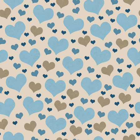 Blue and Brown Hearts Tile Pattern Repeat Background that is seamless and repeats