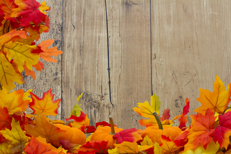 pumpkin border: Autumn Leaves and Pumpkins Background, Autumn Leaves and Pumpkins with grunge wood with space for your message