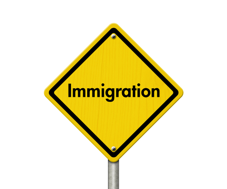 illegal immigrant: Immigration Road Sign, Yellow Caution sign with word Immigration isolated on white Stock Photo