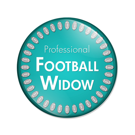 noone: Professional Football Widow Button, A Teal and White button with words Professional Football Widow and Footballs isolated on a white background Stock Photo