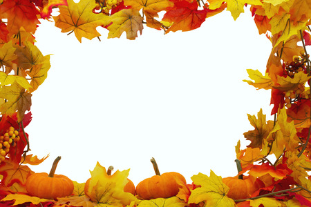 Autumn Leaves and Pumpkins Background, Autumn Leaves isolated on white with space for your message Stock Photo