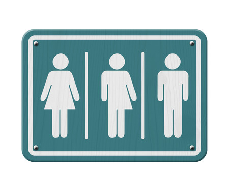 Transgender Sign, Teal and White Sign with a woman, male and transgender symbol