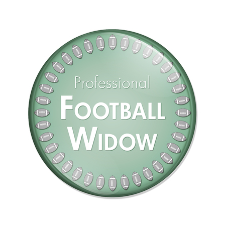 Professional Football Widow Button, A Green and White button with words Professional Football Widow and Footballs isolated on a white background