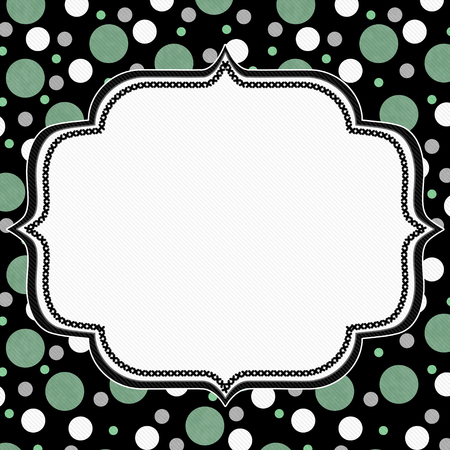 polka: Green, White and Black Polka Dot Frame with Embroidery Stitches Background with center for your message