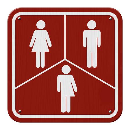 transsexual: Transg�nero Signo, rojo y blanco de signo, con una mujer, s�mbolo masculino y transg�nero