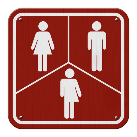 transgender: Transgender Sign, Red and White Sign with a woman, male and transgender symbol