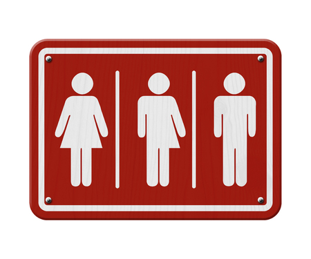 Transgender Sign, Red and White Sign with a woman, male and transgender symbol