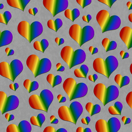 repeats: LGBT Pride Colored Hearts over Gray Tile Pattern Repeat Background that is seamless and repeats