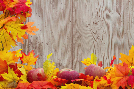 Autumn Leaves and Apples Background, Autumn Leaves and Apples with grunge wood and space for your message