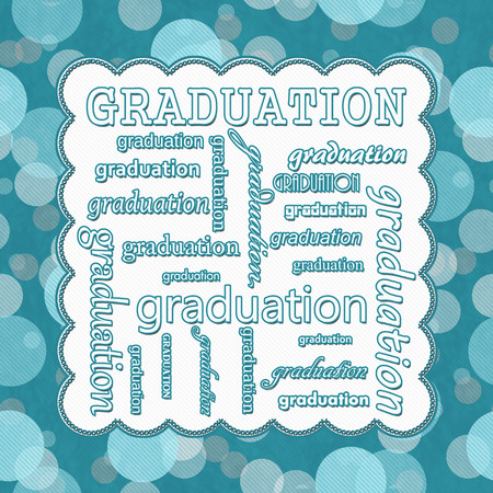 Teal Polka Dot Graduation Message with Embroidery Stitches Background with center for your message